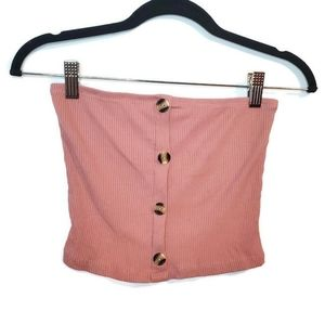 Ambiance Button Up crop Tube Top